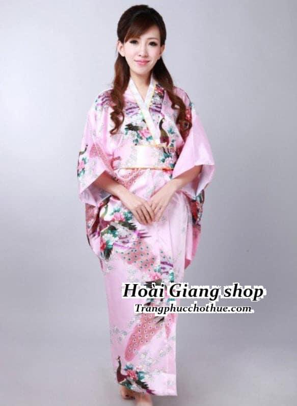 Cho thuê kimono màu hồng